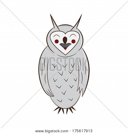 funny owl. handdrawn. isolated on white background. vector illustration.