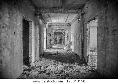 Destroyed industrial building unfinished nuclear power plant in the Odessa region Ukraine.