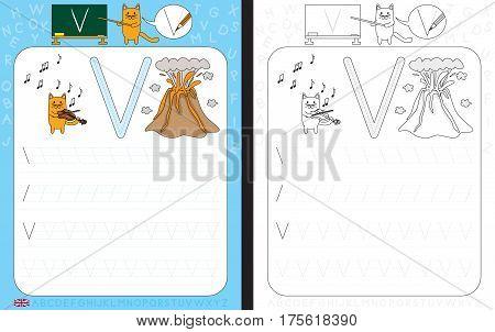 Worksheet for practicing letter writing - tracing letter V