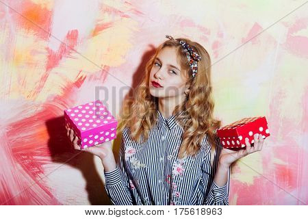 Pretty Girl With Two Red And Pink Polkadot Gift Boxes