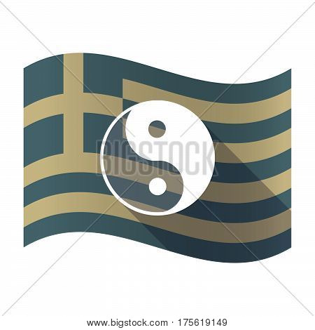 Long Shadow Greece Flag With A Ying Yang