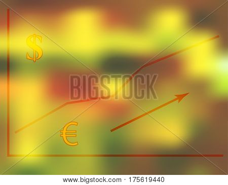Vector illustration of a financial growth chart with dollar and euro symbols on a blurred red green gold background, technical trading concept.