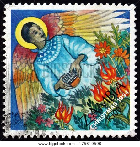 ZAMBIA - CIRCA 1995: a stamp printed in Zambia shows Christmas Angel circa 1995