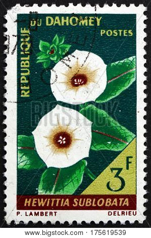 DAHOMEY - CIRCA 1967: a stamp printed in Dahomey shows Hewittia sublobata flowering plant circa 1967