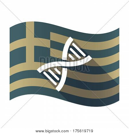 Long Shadow Greece Flag With A Dna Sign