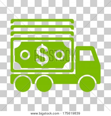Cash Lorry icon. Vector illustration style is flat iconic symbol eco green color transparent background. Designed for web and software interfaces.