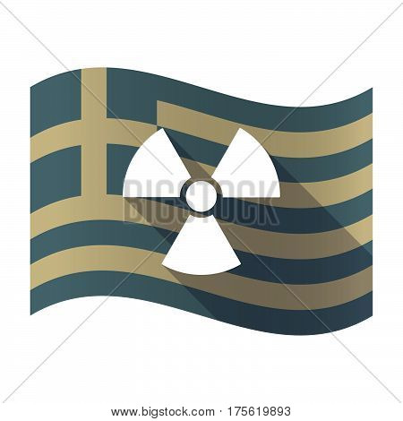 Long Shadow Greece Flag With A Radio Activity Sign
