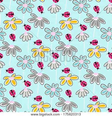 Vector floral pattern with cute daisies. Seamless floral pattern with spring flowers. ladybugs and leaves.