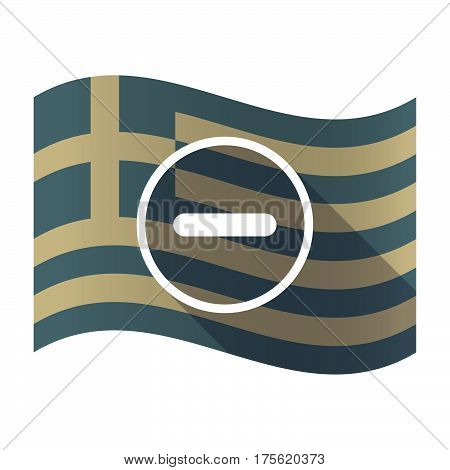 Long Shadow Greece Flag With A Subtraction Sign
