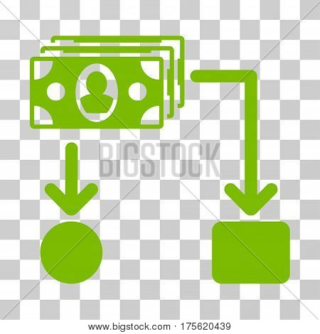 Cashflow icon. Vector illustration style is flat iconic symbol eco green color transparent background. Designed for web and software interfaces.