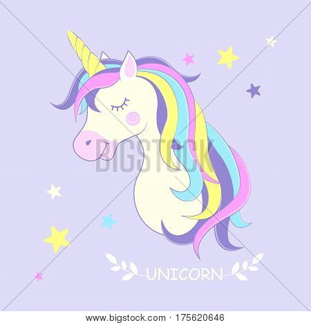 Unicorn. Vector illustration. Cute unicorn with stars in the background.