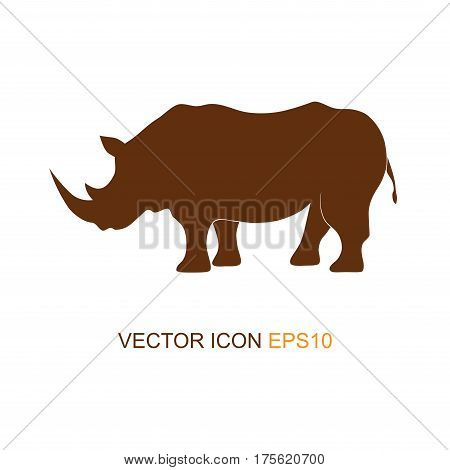 Vector illustration of a silhouette of a rhino on isolated white background. Rhinoceros side view profile. Logo. Vector illustration.