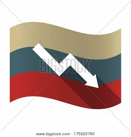 Long Shadow Russia Flag With A Descending Graph