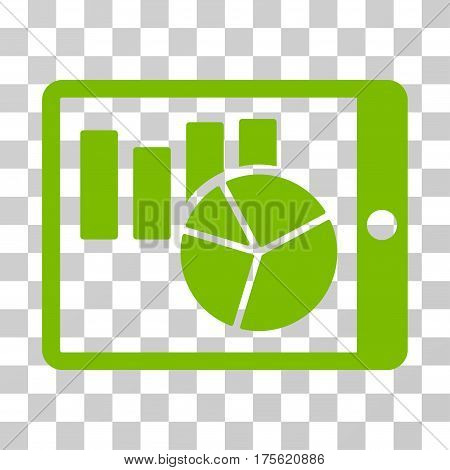Charts On PDA icon. Vector illustration style is flat iconic symbol eco green color transparent background. Designed for web and software interfaces.