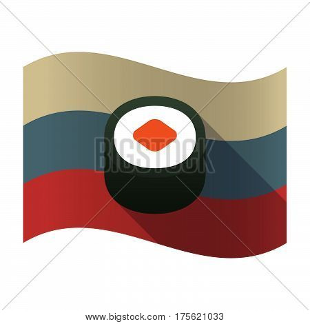 Long Shadow Russia Flag With A Piece Of Sushi Maki