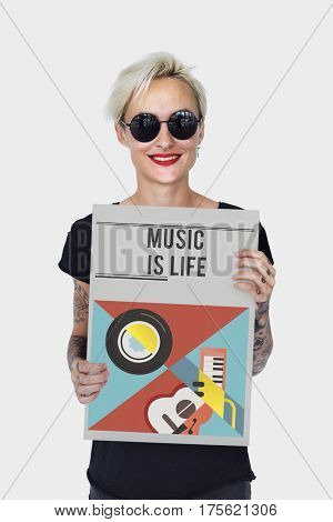 Woman holding banner of music audio passion leisure activity