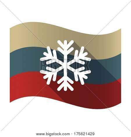 Long Shadow Russia Flag With A Snow Flake