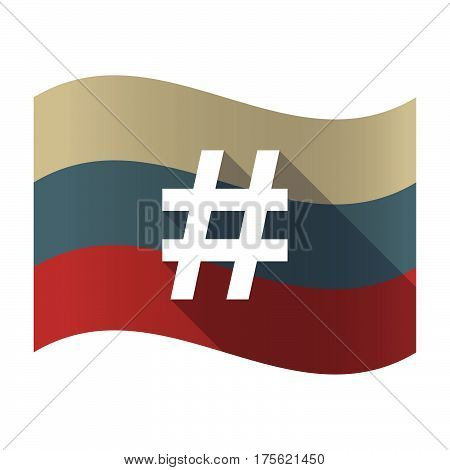 Long Shadow Russia Flag With A Hash Tag