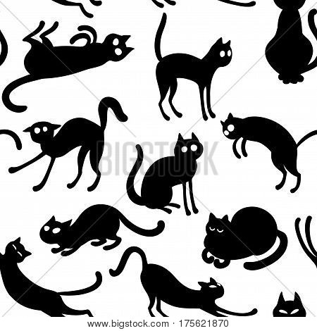 Vector seamless pattern with black cartoon cats