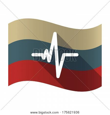 Long Shadow Russia Flag With A Heart Beat Sign