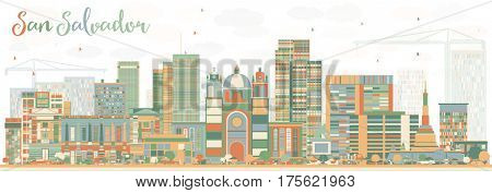 Abstract San Salvador Skyline with Color Buildings. Business Travel and Tourism Concept with Modern Architecture. Image for Presentation Banner Placard and Web Site.