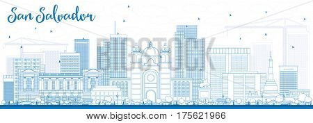 Outline San Salvador Skyline with Blue Buildings. Business Travel and Tourism Concept with Modern Architecture. Image for Presentation Banner Placard and Web Site.