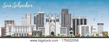 San Salvador Skyline with Gray Buildings and Blue Sky. Business Travel and Tourism Concept with Modern Architecture. Image for Presentation Banner Placard and Web Site.