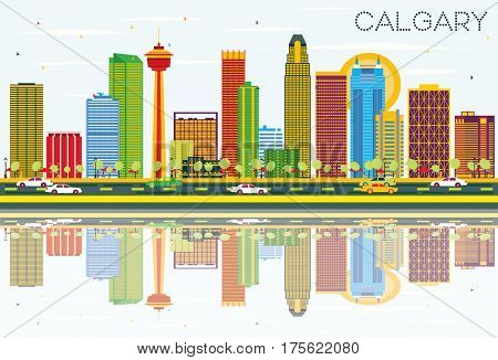 Calgary Skyline with Color Buildings, Blue Sky and Reflections. Business Travel and Tourism Concept with Modern Architecture. Image for Presentation Banner Placard and Web Site