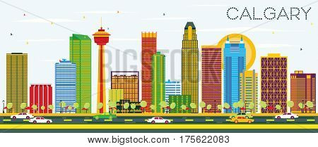 Calgary Skyline with Color Buildings and Blue Sky. Business Travel and Tourism Concept with Modern Architecture. Image for Presentation Banner Placard and Web Site