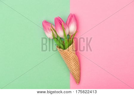 Tulip flowers in ice cream waffle cone on colorful background. Spring concept