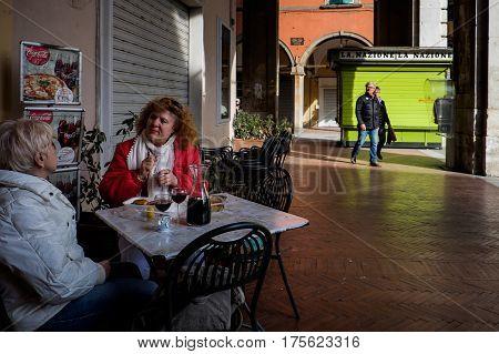 Pisa, Italy - February 26, 2017: The Vaults Of The Portico Of Piazza Garibaldi