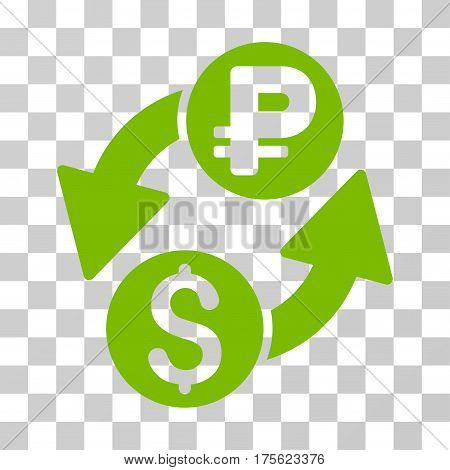Dollar Rouble Exchange icon. Vector illustration style is flat iconic symbol eco green color transparent background. Designed for web and software interfaces.