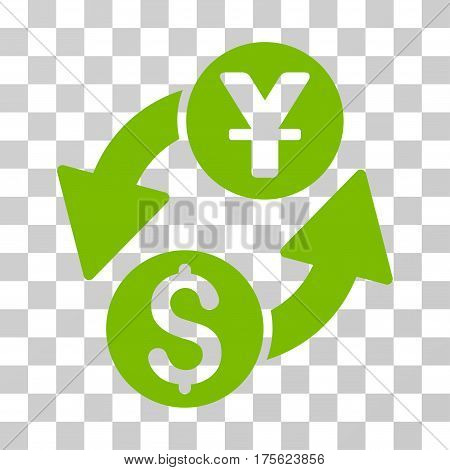 Dollar Yuan Exchange icon. Vector illustration style is flat iconic symbol eco green color transparent background. Designed for web and software interfaces.