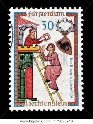 LIECHTENSTEIN - CIRCA 1962 : Cancelled postage stamp printed by Liechtenstein, that shows Kraft of Toggenburg.