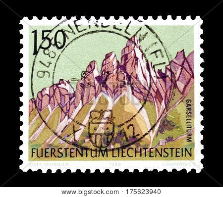 LIECHTENSTEIN - CIRCA 1989 : Cancelled postage stamp printed by Liechtenstein, that shows  Mountains.