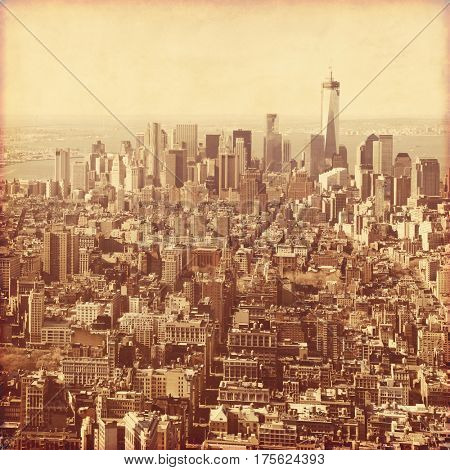 New York City Manhattan aerial view in retro style.