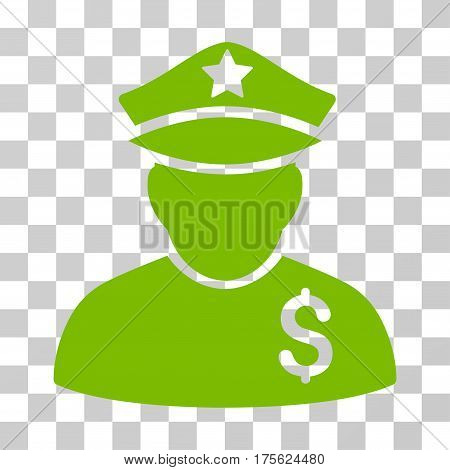 Financial Policeman icon. Vector illustration style is flat iconic symbol eco green color transparent background. Designed for web and software interfaces.
