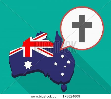 Long Shadow Map Of Australia With A Christian Cross