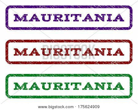 Mauritania watermark stamp. Text tag inside rounded rectangle frame with grunge design style. Vector variants are indigo blue, red, green ink colors. Rubber seal stamp with dirty texture.
