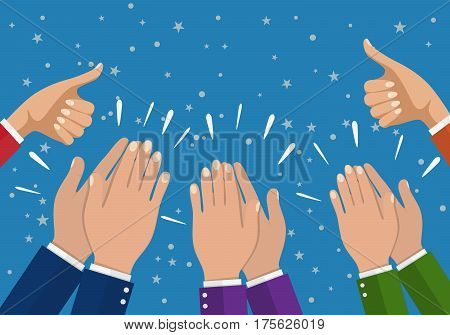 business partners hands applauding at meeting. Hands applauding isolated on a white background. Financials work motivation