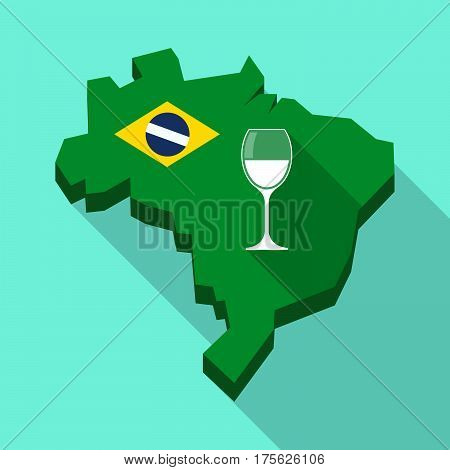 Long Shadow Map Of Brazil With A Cup Of Wine
