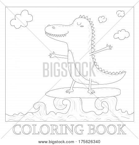 coloring book with cute surf crocodile afloat vector illustration.