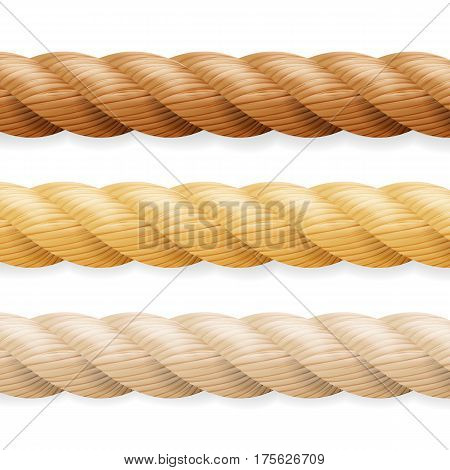 Realistic Rope Vector. Different Thickness Rope Set Isolated On White Background. Illustration Of Twisted Nautical Thick Lines.