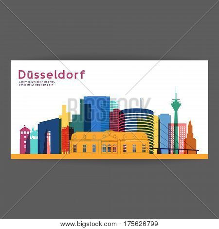 Dusseldorf colorful architecture vector illustration skyline city silhouette skyscraper flat design.