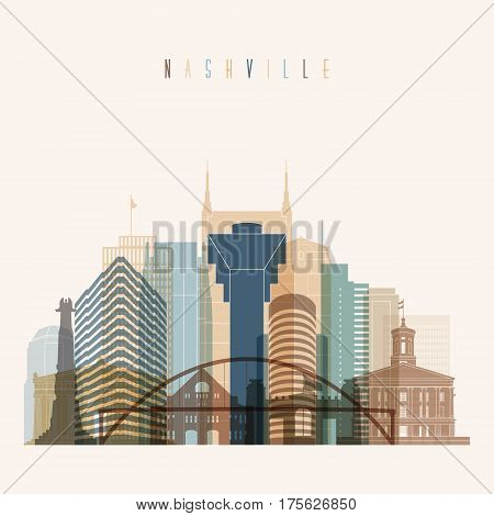 Transparent styled Nashville state Tennessee skyline detailed silhouette. Trendy vector illustration