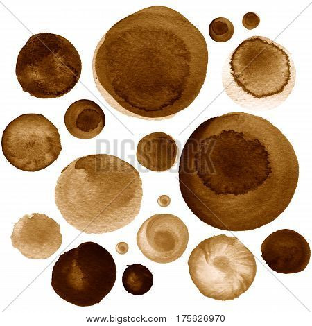 Set of colorful watercolor hand painted circle isolated on white. Watercolor Illustration for artistic design. Round stains blobs of brown coffee garnet raw umber cinereous chamoisee color
