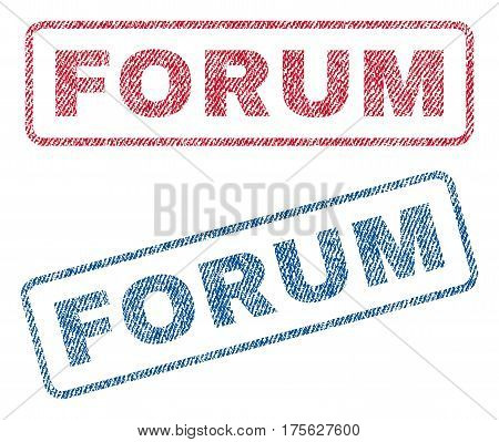 Forum text textile seal stamp watermarks. Blue, red fabric vectorized texture. Vector caption inside rounded rectangular banner. Rubber sticker with fiber textile structure.