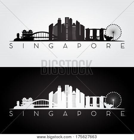 Singapore skyline and landmarks silhouette black and white design vector illustration.