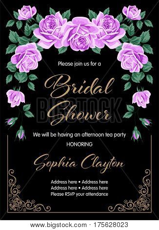 Bridal shower or wedding invitation with roses. Vector Illustration