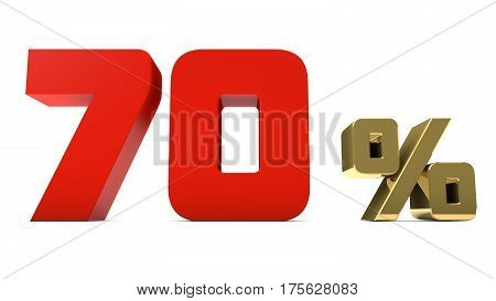 70% percent red and gold text isolated on white 3d render